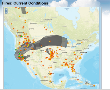 Air Quality Awareness Week - Us wildfire map 2016
