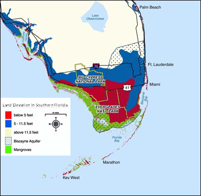 Map of southern Florida that shows the Biscayne Aquifer and mangroves with the land elevation. A significant portion of the region is below 5 feet and an even larger portion of the land is between 5 and 11.5 feet above sea level.