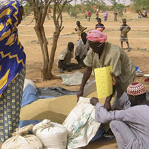 Photograph of farmers trading or selling goods in an arid landscape.