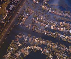 Aerial photograph of flooding from Hurricane Katrina.