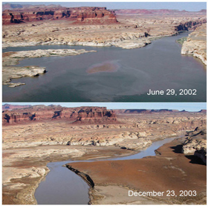 Two photographs of Lake Powell tanken from the same vantage point. The first photograph was taken June 29, 2002 and shows low lake levels. The second photograph, take December 23, 2003 shows an extremely low water levels.