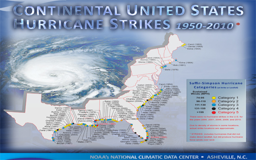 continental United States hurricane strikes