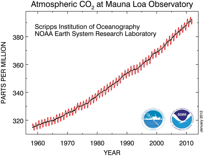 Graph with connected points that is overlayed with a trend line. The graph shows Atmospheric Carbon Dioxide at Mauna Loa Observatory measured in parts per million from 1960 to just beyond 2010. The points show regular mild variation within a short period of time (possibly seasonal), but the parts per million increases steadily from just below 320 parts per million in 1960 to over 390 parts per million around 2010.