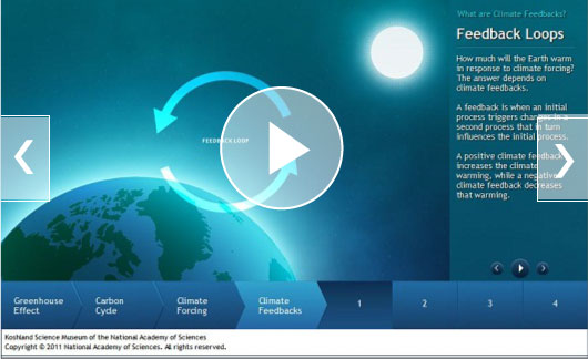Feedback Loops - How much will the Earth warm in response to climate forcing? The answer depends on climate feedbacks. A feedback is when an initial process triggers changes in a second process that in turn influences the initial process. A positive climate feedback increases the climate warming, while a negative climate feedback decreases that warming.